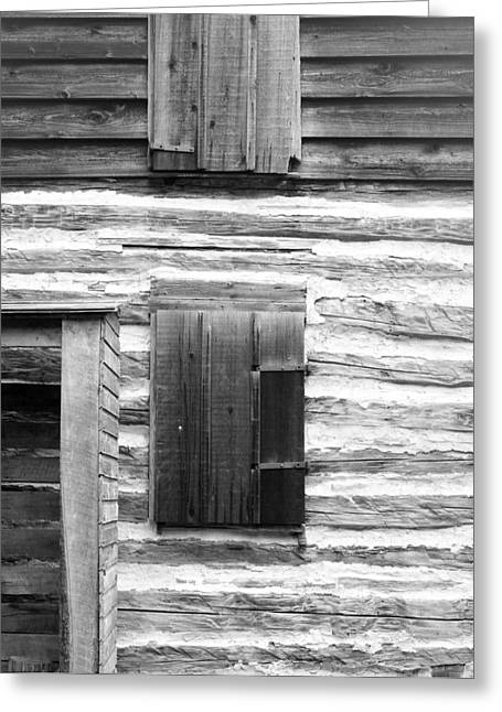 Log Cabin Walls 4 Bw Greeting Card by Mary Bedy