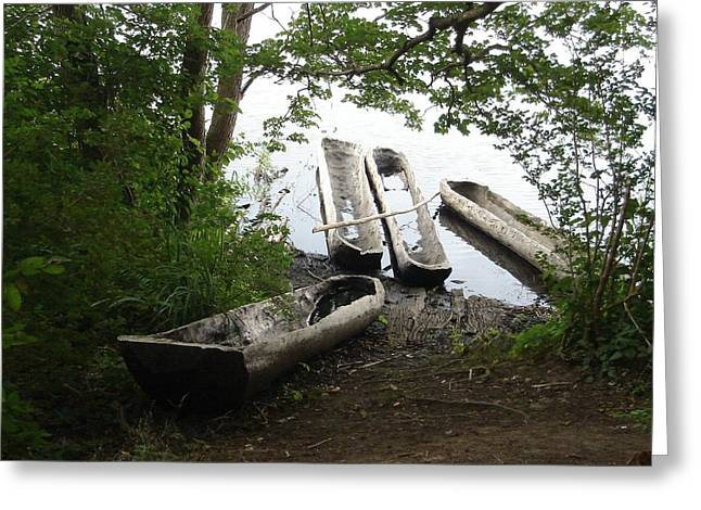 Greeting Card featuring the photograph Log Canoes by Kerri Mortenson
