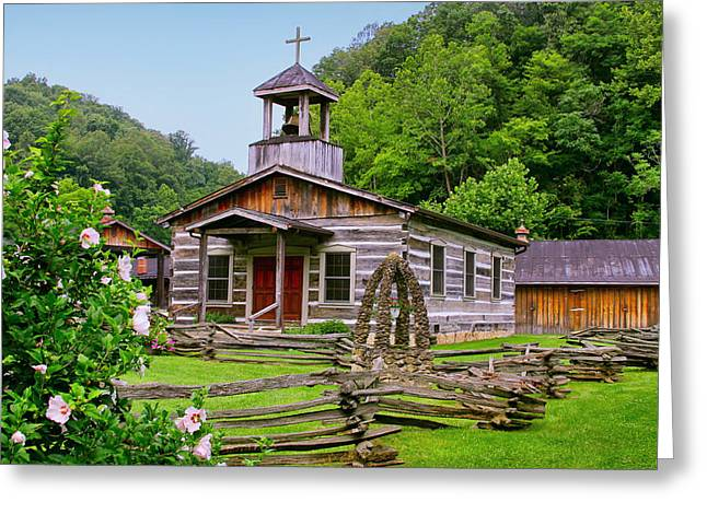 Log Church Greeting Card by Mary Almond
