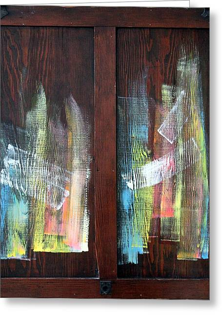 Log Fire Cabinet Door Greeting Card by Asha Carolyn Young