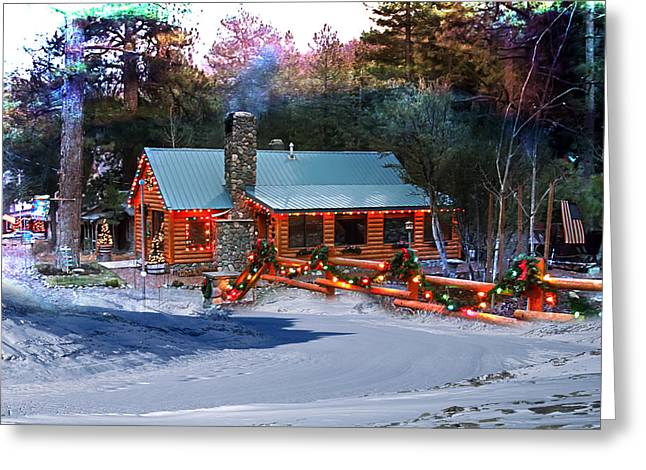 Greeting Card featuring the photograph Log Home On Mount Charleston With Christmas Decoration by Gunter Nezhoda