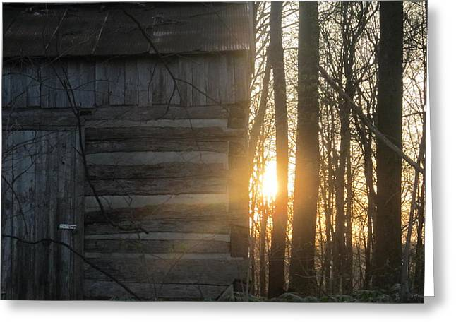 Log House Up Close And Sunset Greeting Card