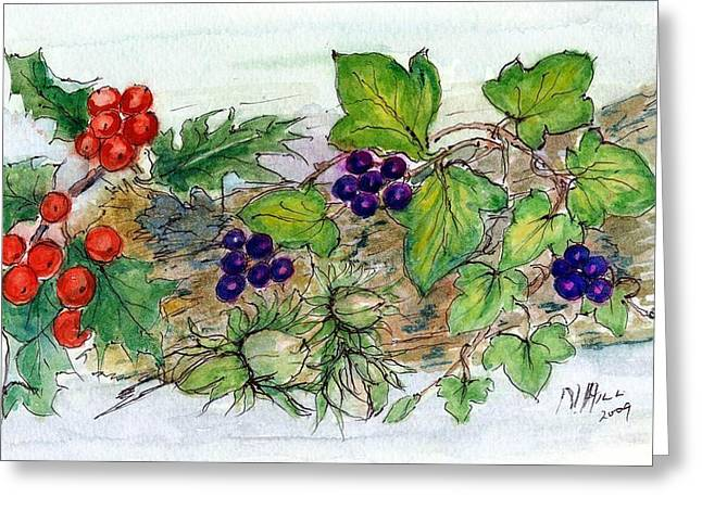 Log Of Ivy, Holly And Hazelnuts  Greeting Card
