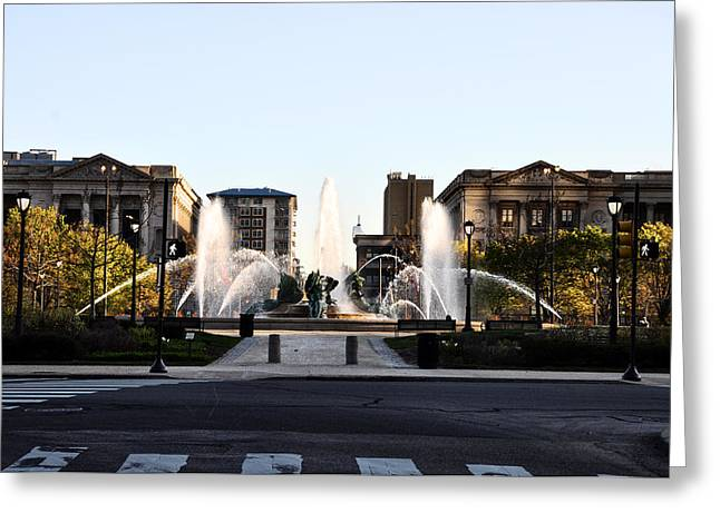 Logan Square Philadelphia Greeting Card by Bill Cannon