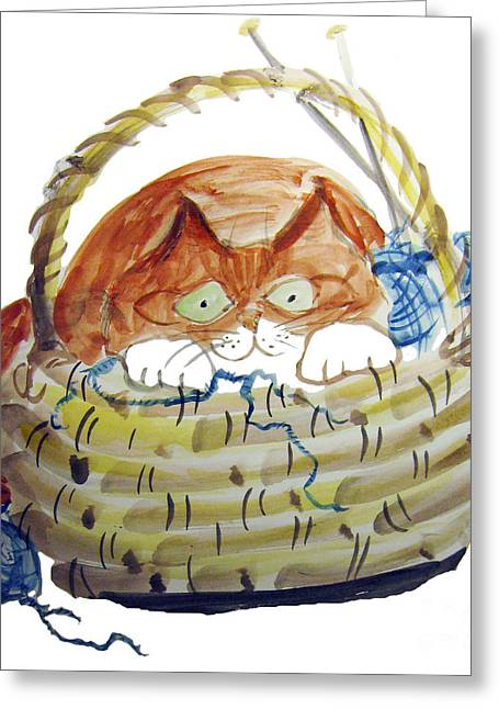 Lois Hides In The Basket Of Knitting Greeting Card by Ellen Miffitt
