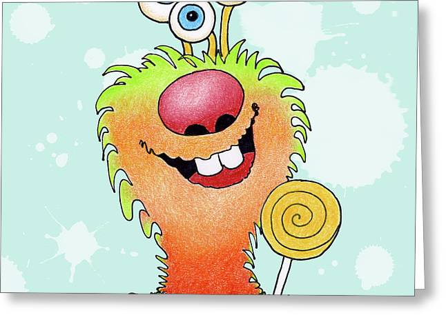 Lolli Pop Monster Greeting Card by Annie Troe