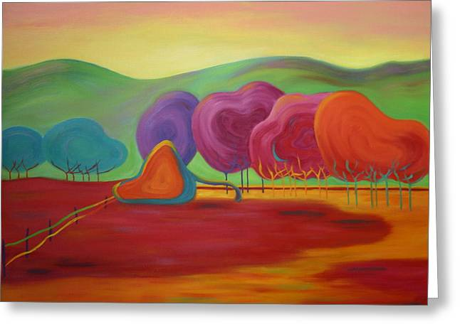 Greeting Card featuring the painting Lollipop Ranch by Nancy Jolley