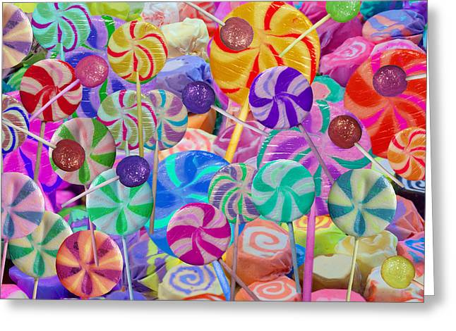 Lolly Pop Land Greeting Card by Alixandra Mullins