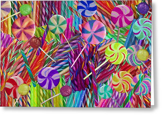 Lolly Pop Twists Greeting Card by Alixandra Mullins