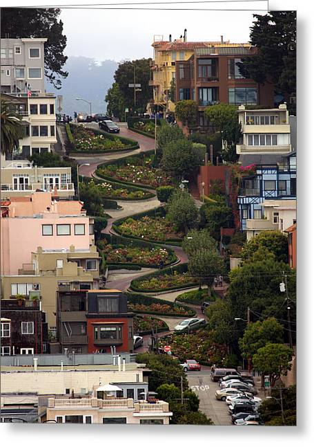 Lombard Street Greeting Card by David Salter
