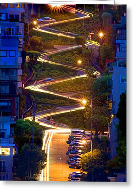 Lombard Street In The Evening San Francisco Greeting Card