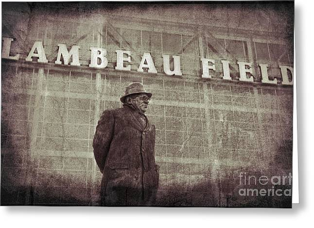 Lombardi At Lambeau Greeting Card by David Arment