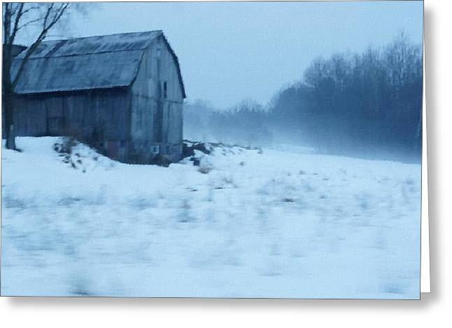 Lomesome Hip Roofed Barn Over Looking The Back Forty Greeting Card by Rosemarie E Seppala
