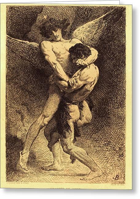 Léon Bonnat, French 1833-1922, La Lutte De Jacob Jacob Greeting Card