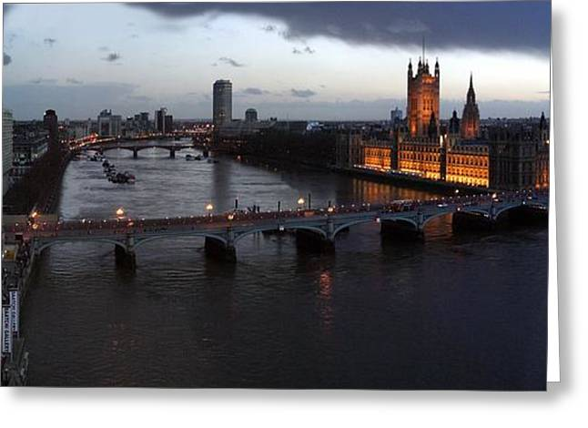 London At Dusk Greeting Card by Gary Lobdell