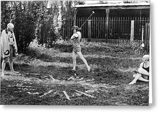 London Bathers Play Clock Golf Greeting Card by Underwood Archives