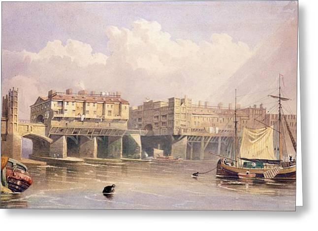 London Bridge, 1835 Greeting Card by George Pyne