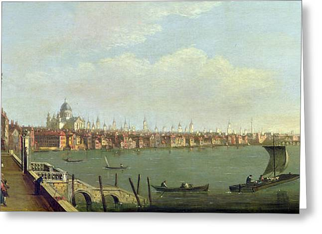 London Bridge And The City From The Terrace Of Somerset House Oil On Canvas Greeting Card by Francis Smith