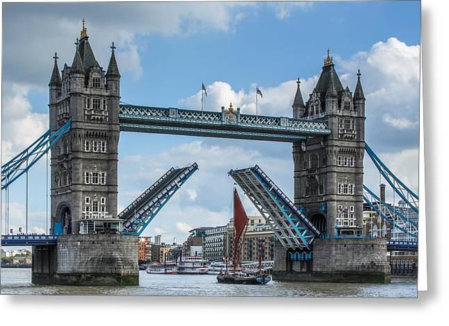 London Bridge Raised For Sailing Barge Greeting Card by Izzy Standbridge