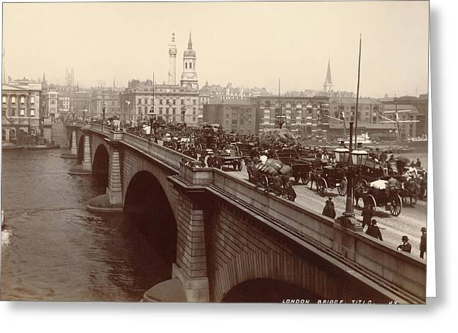 London Bridge Traffic Greeting Card by Underwood Archives