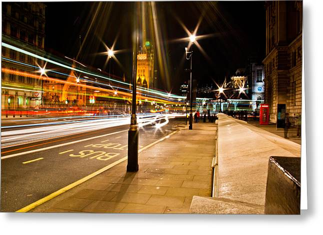 London By Night Greeting Card by Gabor Fichtacher