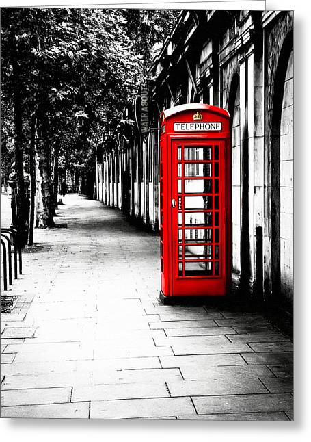 Greeting Card featuring the photograph London Calling - Red Telephone Box by Mark E Tisdale