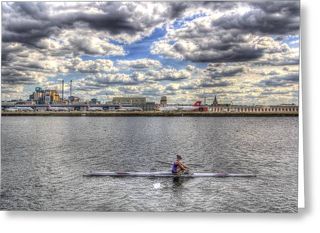 London City Airport Sculler Greeting Card