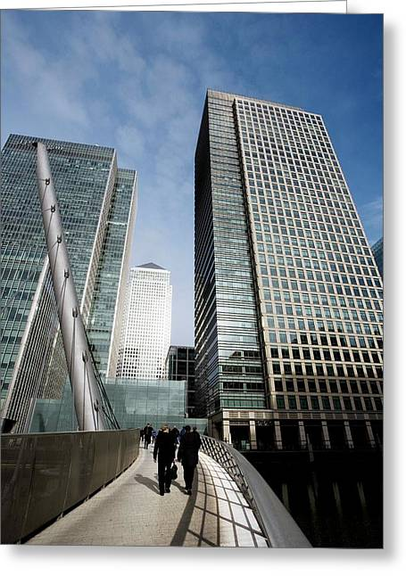 London Docklands Skyscrapers Greeting Card by Carlos Dominguez