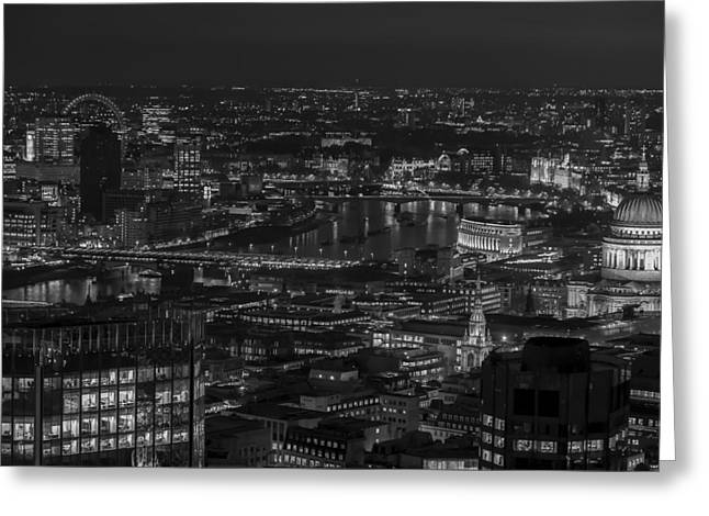 London City At Night Black And White Greeting Card
