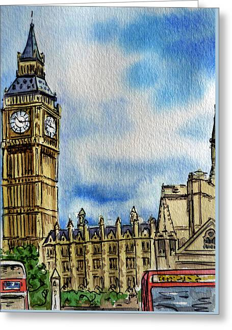 London England Big Ben Greeting Card by Irina Sztukowski