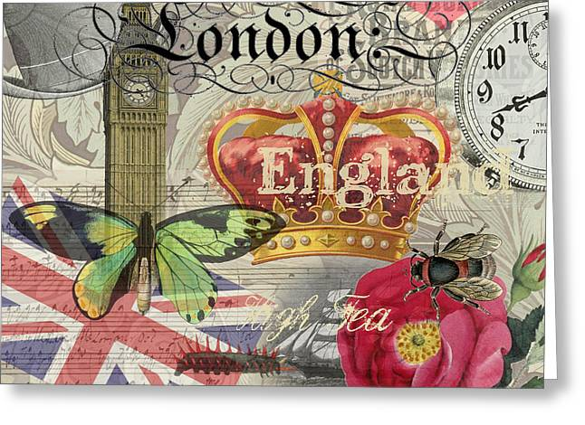 London England Vintage Travel Collage  Greeting Card