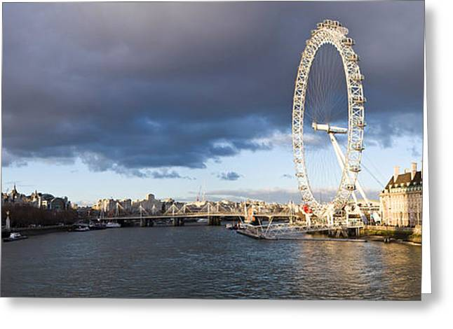 London Eye At South Bank, Thames River Greeting Card by Panoramic Images