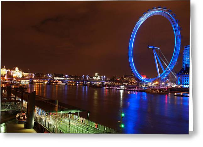 London Eye By Night Greeting Card by Neven Milinkovic