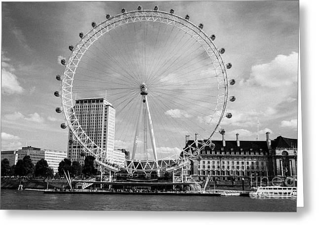 Greeting Card featuring the photograph London Eye Head-on Bw by Matt Malloy