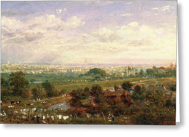 London From Islington Hill, Frederick Nash Greeting Card by Litz Collection