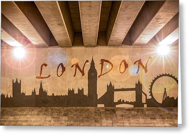 London Graffiti Landmarks Greeting Card