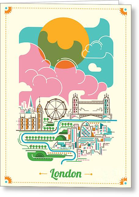 London Illustration In Color. Vector Greeting Card