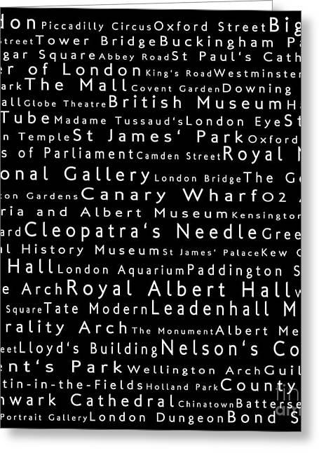 London In Words Black Greeting Card by Sabine Jacobs