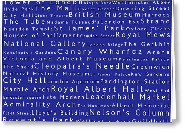 London In Words Blue Greeting Card by Sabine Jacobs
