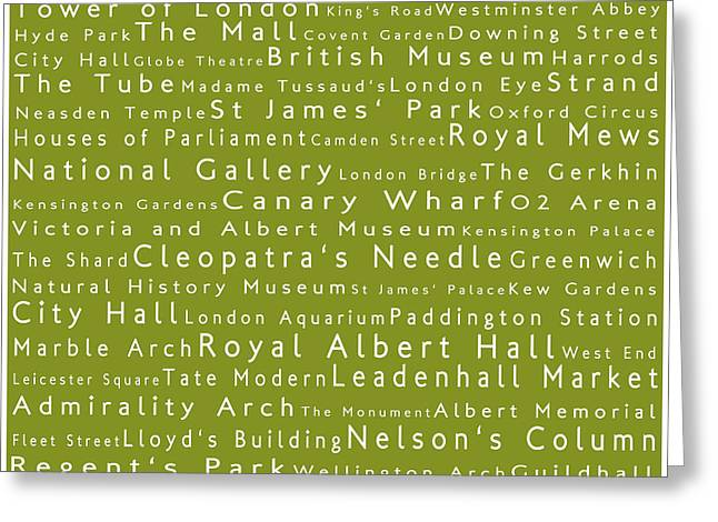 London In Words Olive Greeting Card by Sabine Jacobs