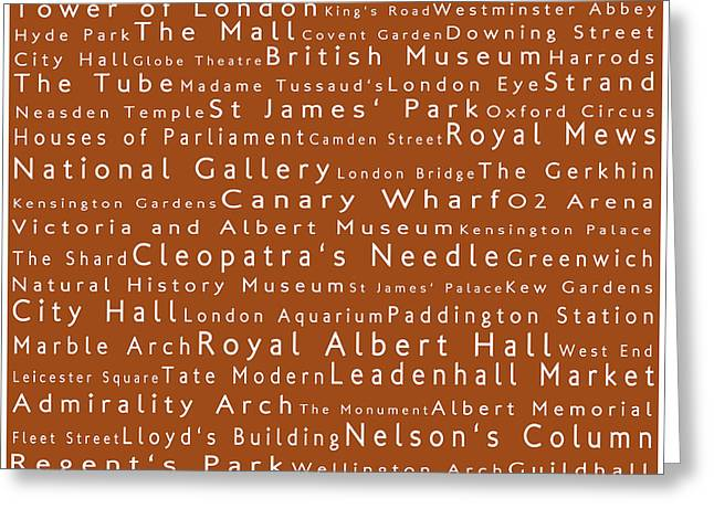 London In Words Toffee Greeting Card by Sabine Jacobs