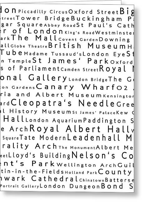 London In Words White Greeting Card by Sabine Jacobs