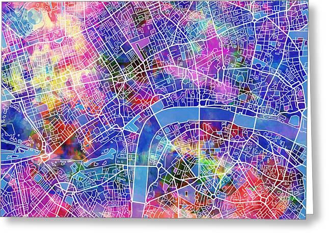 London Map Pink Greeting Card