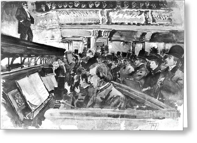 London Music Hall Orchestra Pit 1890 Greeting Card by Padre Art