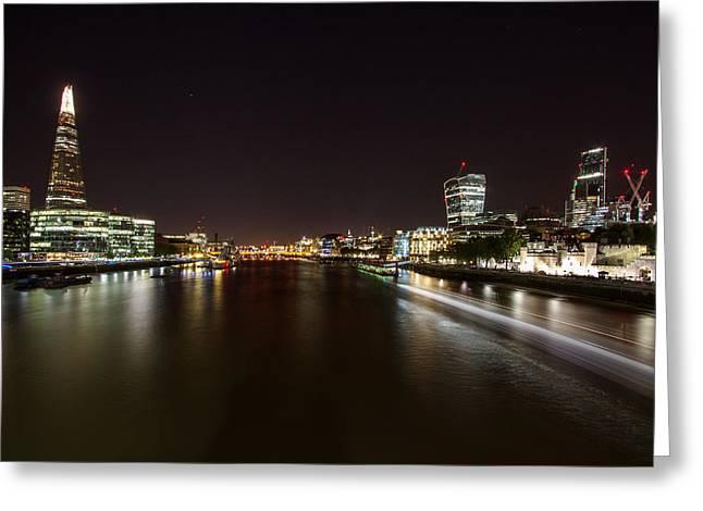 London Nightscape Greeting Card by Wayne Molyneux
