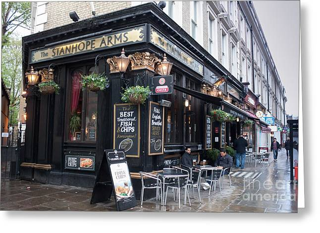 London Pub Greeting Card by Thomas Marchessault