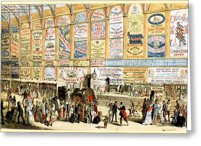 London Railway Station - Large Greeting Card by Charlie Ross