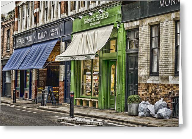London Shop Fronts Greeting Card by Heather Applegate
