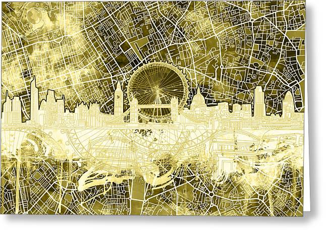 London Skyline Abstract 3 Greeting Card by Bekim Art