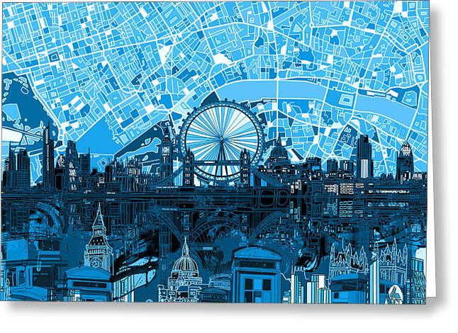 London Skyline Abstract Blue Greeting Card